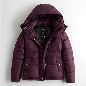 Purple puffy jacket with faux fur in hood